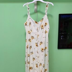 Large Sunflower Button Up Midi Dress